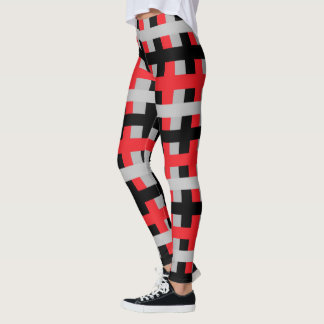 Abstract Red, Grey and Black Leggings