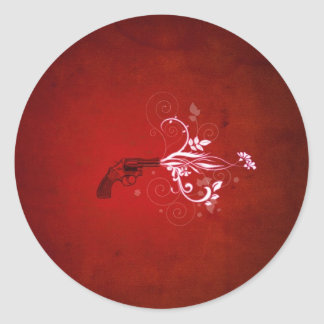 Abstract Red Gun Fire Classic Round Sticker