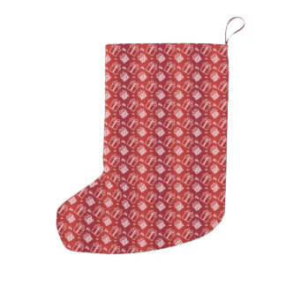 abstract red holiday pattern small christmas stocking