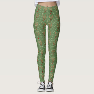 Abstract Red-Nosed Reindeer, Green and White Dots Leggings