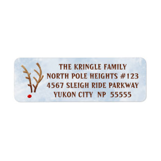 Abstract Red-Nosed Reindeer, Watercolor Winter Return Address Label