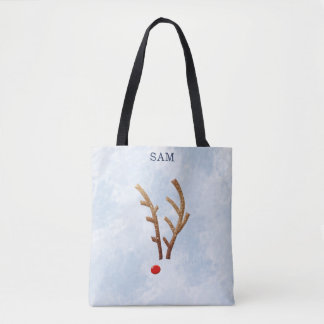 Abstract Red-Nosed Reindeer, Winter Watercolor Tote Bag