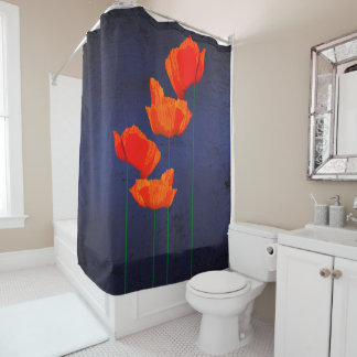 ABSTRACT RED ON BLUE SHOWER CURTAIN