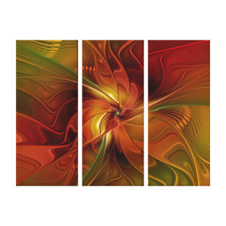 Abstract Red Orange Brown Green Flower Triptych Canvas Print