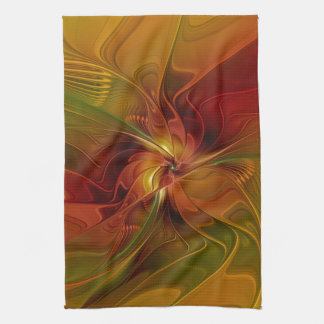 Abstract Red Orange Brown Green Fractal Art Flower Hand Towels