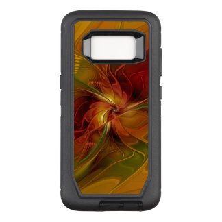Abstract Red Orange Brown Green Fractal Art Flower OtterBox Defender Samsung Galaxy S8 Case