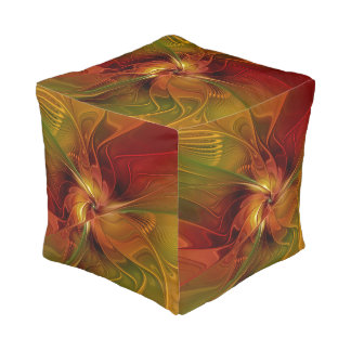 Abstract Red Orange Brown Green Fractal Art Flower Pouf