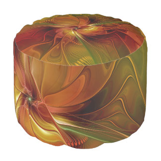 Abstract Red Orange Brown Green Fractal Art Flower Pouf