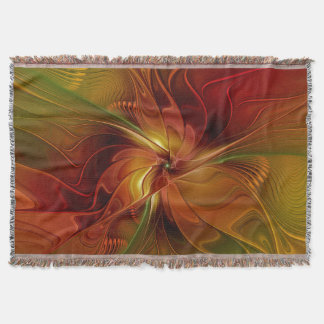 Abstract Red Orange Brown Green Fractal Art Flower Throw Blanket