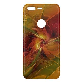 Abstract Red Orange Brown Green Fractal Art Flower Uncommon Google Pixel Case