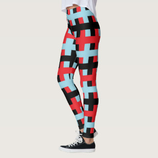 Abstract Red, Pastel Blue and Black Leggings