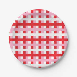 Abstract Red, Pink and White Paper Plate