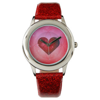 Abstract Red Pink Ombre Heart Watch