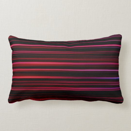 Abstract Red Stripes on Black Cotton Lumbar Pillow