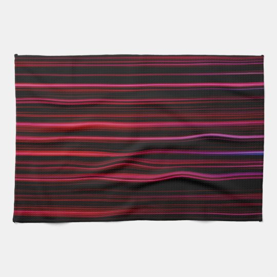 Abstract Red Stripes on Black Kitchen Towel