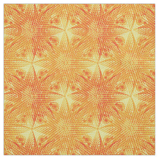 Abstract red tribal snowflake on yellow background fabric