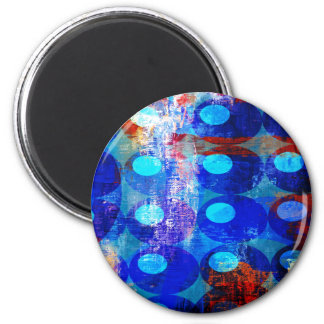Abstract Red White and Blue Circles Fridge Magnets