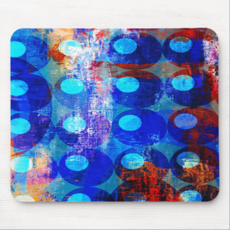 Abstract Red White and Blue Circles Mouse Pads