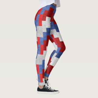 Abstract red, white and blue pattern leggings