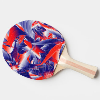 Abstract Red White and Blue Ping Pong Paddle