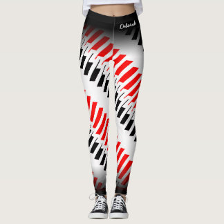 Abstract Red White Black Pattern Leggings