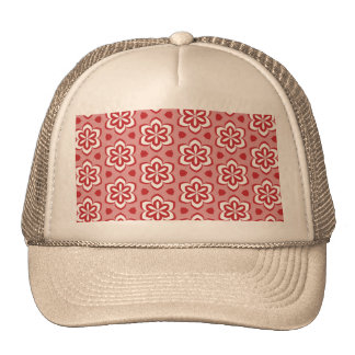 Abstract red white floral pattern. trucker hat