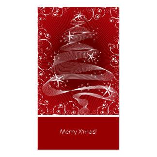 Abstract Red X'mas Tree & Swirls Mini Greeting Tag Business Card