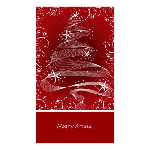 Abstract Red X'mas Tree & Swirls Mini Greeting Tag Business Card Templates