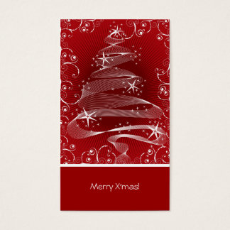 Abstract Red X'mas Tree & Swirls Mini Greeting Tag Business Card