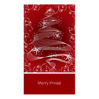 Abstract Red X'mas Tree & Swirls Mini Greeting Tag Pack Of Standard Business Cards