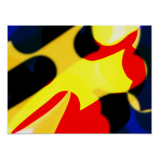 Abstract Red Yellow and Blue Poster