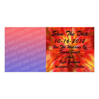 Abstract Red Yellow Photo Wedding Save The Date Personalized Photo Card