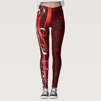 Abstract Reds and White Leggings