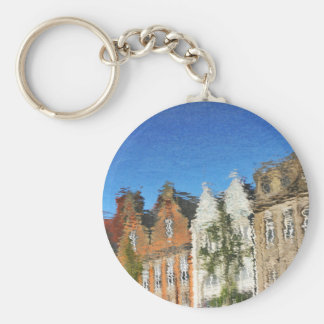 Abstract reflections basic round button keychain