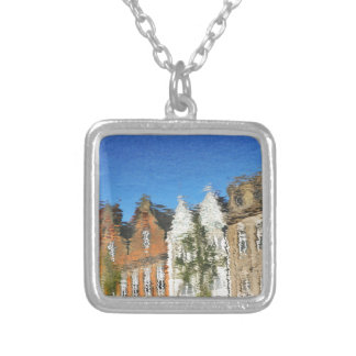 Abstract reflections silver plated necklace