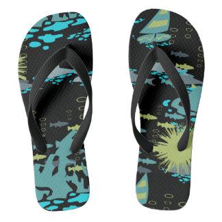 Abstract Retro Green Black Fish Windsurfer Summer Flip Flops