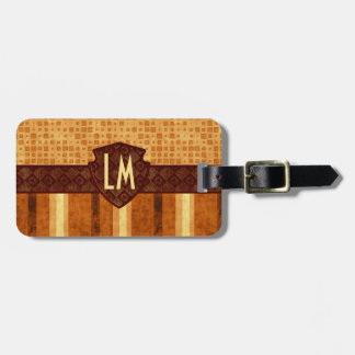 Abstract Retro Grunge Amber Brown Orange Patterns Luggage Tag