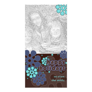 Abstract Retro Snowflakes Photo Card in Blues