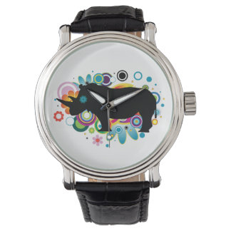 Abstract Rhino Black Leather Strap Watch