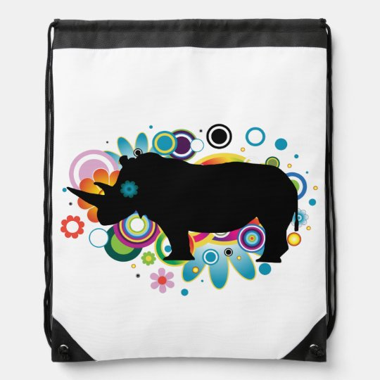 Abstract Rhino Drawstring Backpack