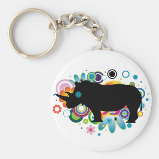 Abstract Rhino Keychain