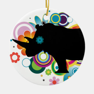 Abstract Rhino Ornament