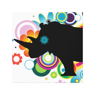 Abstract Rhino Wrapped Canvas