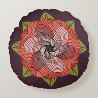Abstract Ribbon Rose in Coral and Moss on Fig Round Pillow