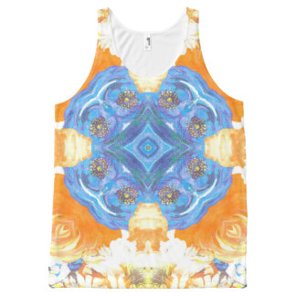 Abstract Romantic  Floral Pattern All-Over-Print Tank Top