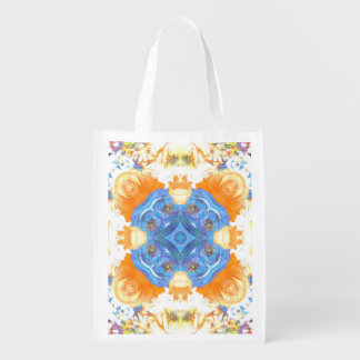 Abstract Romantic  Floral Pattern Reusable Grocery Bag