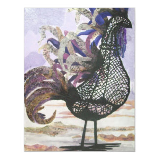 Abstract rooster personalized invites
