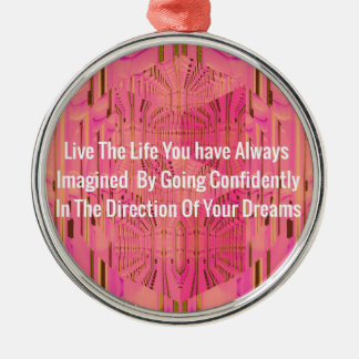 Abstract Rose Color Positive Encouragement Chic De Silver-Colored Round Ornament
