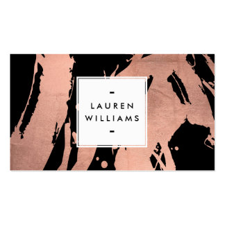 Abstract Rose Gold Brushstrokes on Black Business Card