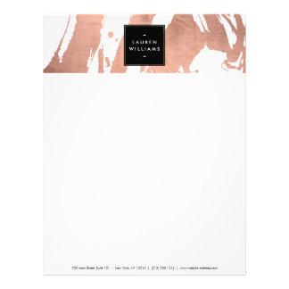 Abstract Rose Gold Brushstrokes on White Letterhead